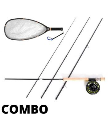 Stradalli Silver Lining 9' Long, 4 Piece Fast Action Fly Fishing Rod With Carbon Fiber Fly Fishing Landing Net 24