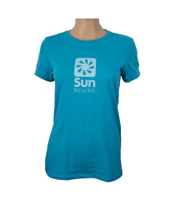 CLOTHING T-SHIRT SUN LOGO LADIES SM HEATHER AQUA