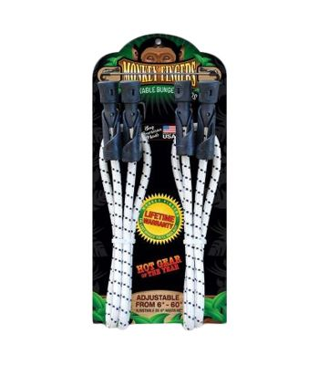 BUNGEE CORD MONKEY FINGERS DURA PLASTIC 6-60in ADJUSTABLE DOUBLE PACK BK