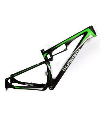 Stradalli Trail Full Suspension Full Carbon Fiber Mountain Bike Frame. 27.5'' MTB 650b Black/Green