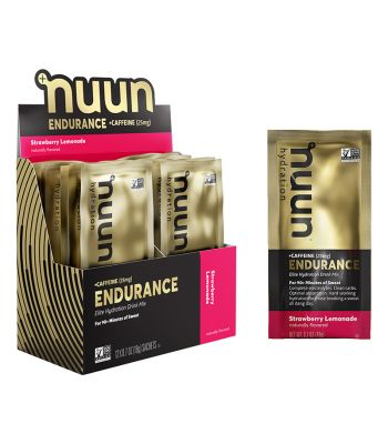 FOOD NUUN ELECTROLYTE ENDURANCE STRAWBERRY LEMONADE+CAFFEINE  BXof12