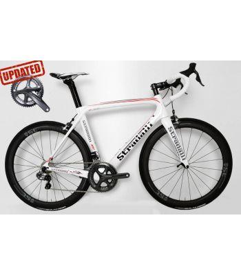 Stradalli AR7 White Team Full Carbon Aero Road Bicycle Shimano Ultegra 8050 Di2 11 Speed. Stradalli 50mm x 27mm Wide Carbon Clincher WheelSet.