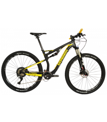 Stradalli 29er Black / Yellow Full Carbon Fiber Dual Suspension Trail Mountain Bike. Shimano SLX 11 Speed. DT Swiss Spline Tubeless Ready Wheelset.