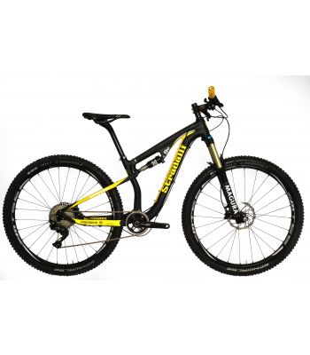 Stradalli 29er Black / Yellow Full Carbon Fiber Dual Suspension Trail Mountain Bike. Shimano XT M8000 11 Speed. Magura TS6 Fork. Shimano MT66 Wheel set