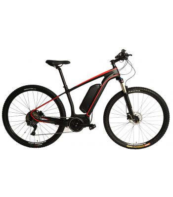 Carbon Fiber 29er MTB EBike Electric Bike E-Bike Bicycle Disc Hardtail. Red 250w Direct Drive Motor. 36v 12ah Li-Po Battery. Shimano SLX 11 Speed.