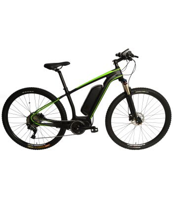 Carbon Fiber 29er MTB EBike Electric Bike E-Bike Bicycle Disc Hardtail. Green 250w Direct Drive Motor. 36v 12ah Li-Po Battery. Shimano SLX 11 Speed.