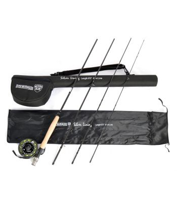 Stradalli Silver Lining 5 Wt, 9' Long, 4 Piece Fast Action Fly Fishing Rod 100% Carbon Fiber Billet Reel Combo