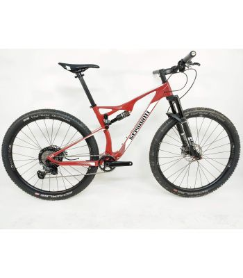 Stradalli 29er Red XC Carbon Dual Suspension Mountain Bike Shimano XTR 9100 – 12 Speed.  DT-Swiss Full Carbon Race shock and fork, with Industry 9 Hydra Wheels