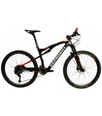 Stradalli Two 7 Black Edition. Full Carbon Fiber Dual Suspension Cross Country XC Mountain Bike. 27.5