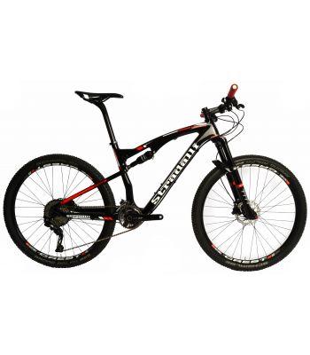 Stradalli Two 7 Black Edition. Full Carbon Fiber Dual Suspension Cross Country XC Mountain Bike. 27.5