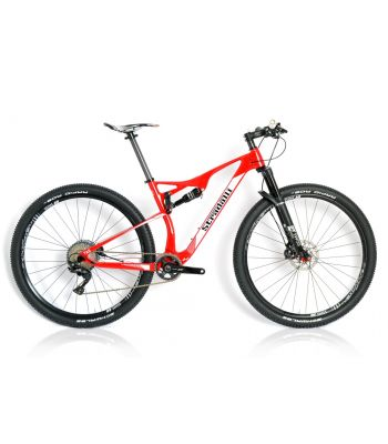 Stradalli 29er Red/White Carbon Dual Suspension Cross Country XC Mountain Bike Shimano XT DT-Swiss Wheel Set