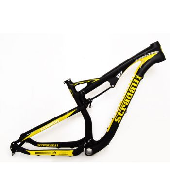 Stradalli 29er Black / Yellow Full Carbon Dual Suspension Mountain Bike Frame.