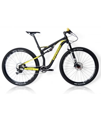 Stradalli 29er Black / Yellow Full Carbon Fiber Dual Suspension Trail Mountain Bike. Shimano XT 11 Speed. DT Swiss Spline Tubeless Ready Wheelset.