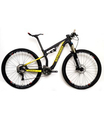Stradalli 29er Black / Yellow Full Carbon Fiber Dual Suspension Cross Country XC Mountain Bike. Shimano XTR 9000. Magura TS8 Suspension. Stans ZTR Crest Wheel Set.