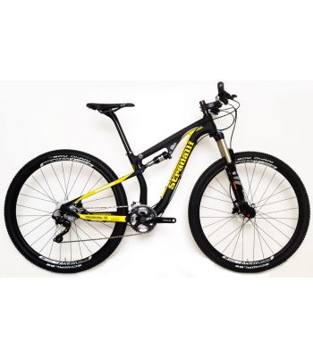 Stradalli 29er Black / Yellow Full Carbon Fiber Dual Suspension Cross Country XC Mountain Bike. Shimano XT. X Fusion Suspension. DT Swiss Limited Edition Wheel Set.