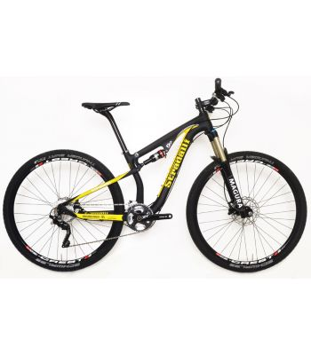 Stradalli 29er Black / Yellow Full Carbon Fiber Dual Suspension Cross Country Mountain Bike. Shimano XT. Magura TS8 Suspension. Stans ZTR Crest Wheel Set.