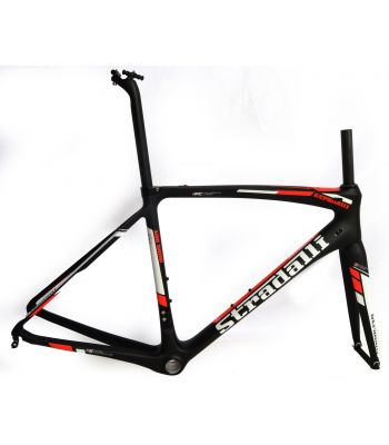 Stradalli San Remo Full Carbon Road Bicycle Frameset. Blaze Fluorescent Red and White Graphics