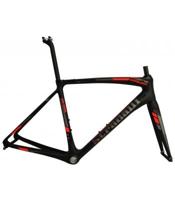 Stradalli San Remo Full Carbon Road Bicycle Frameset. Blaze Fluorescent Red and Grey Graphics