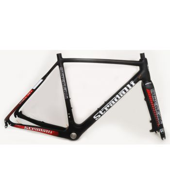 Stradalli Cyclocross Full Carbon Disc Cycle Cross T-700 Pro Gravel Bicycle Frame Set. Red/Black