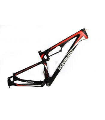 Stradalli Trail Full Suspension Full Carbon Fiber Mountain Bike Frame. 27.5'' MTB 650b Black/Red