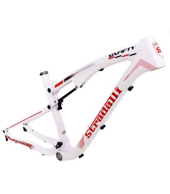 Stradalli TWO7 Pro White Edition. Full Carbon Fiber Dual Suspension Mountain Bike Frame. 27.5