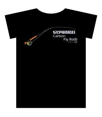 Stradalli Carbon Fly Rod Multicolor Graphic Black Fishing TShirt