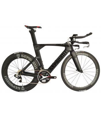 Stradalli Black TT Full Carbon Time Trial Triathlon TTR-8 Bike. SRAM Red E-TAP 11 Speed. Stradalli 50-85mm Carbon Wheels. ETAP