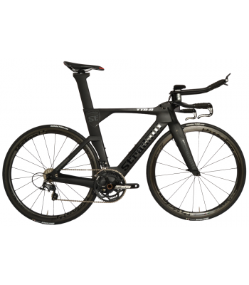 Stradalli Black TT Full Carbon Time Trial Triathlon TTR-8 Bike. Shimano Ultegra 8000 11 Speed. Vision Metron 40 Carbon Clincher Wheelset.